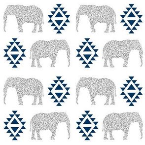 elephant nursery navy blue and grey aztec geo geometric sweet baby girl