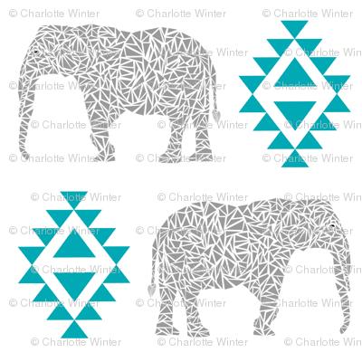elephant nursery turquoise aztec geo geometric sweet baby girl