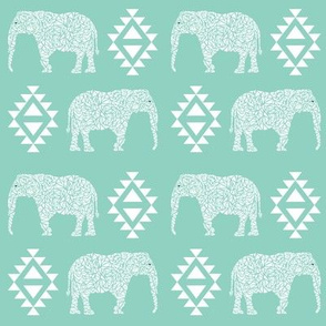 elephant mint nursery baby geo geometric kids