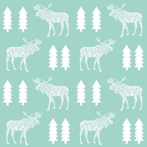 geometric moose mint kids baby nursery trees silhouette geo mooses camper boys kids