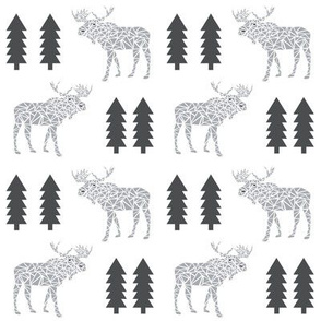 moose grey and charcoal kids baby nursery sweet boys mooses tree forest canada