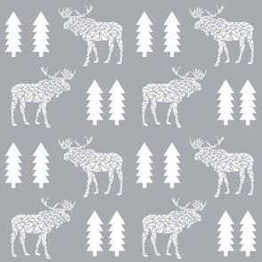moose grey trees forest canada mooses camper camping kids baby grey nursery boys