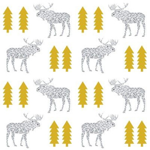 moose mustard grey baby kids nursery blanket nursery mooses animal geo geometric trees simple trendy baby design