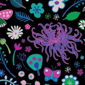 Japanese garden - Aqua, Pink and Blue - Large