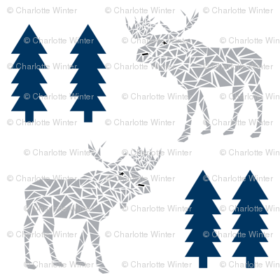 moose navy and grey animals geo geometric trees tree forest canada baby nursery