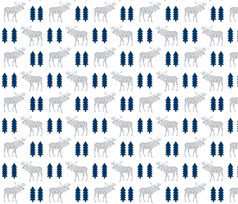 moose navy and grey animals geo geometric trees tree forest canada baby nursery  fabric by charlottewinter on Spoonflower - custom fabric