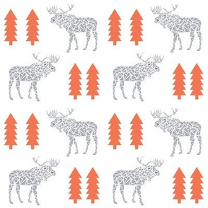 moose grey and orange trees forest baby kids moose geo geometric forest kids baby