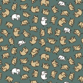 Elephants - White & Ecru on Grey