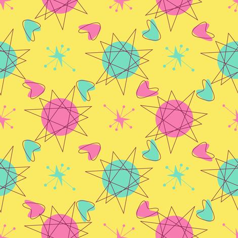 Atomic Shapes-Yellow fabric by halloweenhomemaker on Spoonflower - custom fabric