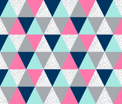 Triangle Cheater Quilt Pink Navy Blue Grey Spots Dots