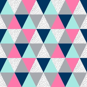 triangle cheater quilt pink navy blue grey spots dots polka dot kids baby blanket nursery