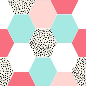 hexagon cheater quilt girls sweet coral mint pink girls blanket baby girl nursery quilt kids