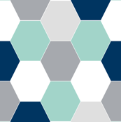 hexagon mint navy blue grey kids cheater quilt baby blanket baby quilt baby boy boys nursery hexie quilt kids baby