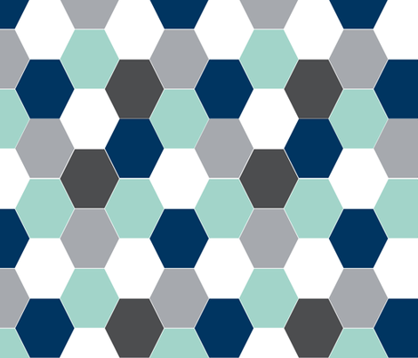 hexagon mint navy blue grey kids cheater quilt baby blanket baby quilt baby boy boys nursery hexie quilt kids baby fabric by charlottewinter on Spoonflower - custom fabric