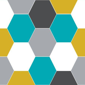 hexagon quilt cheater quilt boys charcoal turquoise mustard kids quilts baby blanket boys