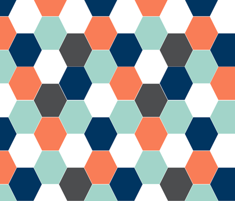 Boys Cheater Quilt Baby Hexagon Orange Mint Navy Blue Boys Baby Boy