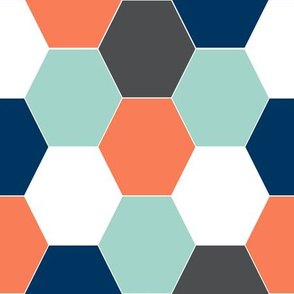 boys cheater quilt baby hexagon orange mint navy blue boys baby boy boys room cheater quilt boys
