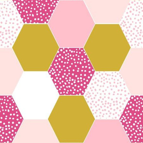 hexagon cheater quilt mustard pink dots spots girls baby girl pink and yellow cute quilt