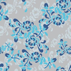 16-16U Large Floral Mum || English Garden Grey Gray Royal Blue Sky Blue Botanical Flower _Miss Chiff Designs
