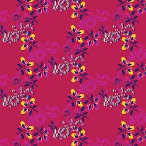 English Country Floral Trellis India Pink Yellow Purple_Miss Chiff Designs
