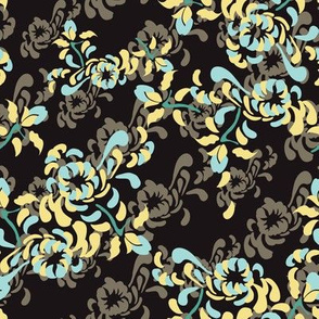 English Country Garden Floral Botanical Mum Mint Taupe Yellow Black _Miss Chiff Designs