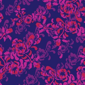 English Country Garden Large Mum Floral India Hot Pink Purple_Miss Chiff Designs