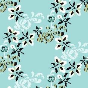 English Garden Floral Botanical Trellis Mint Black Yellow White_Miss Chiff Designs