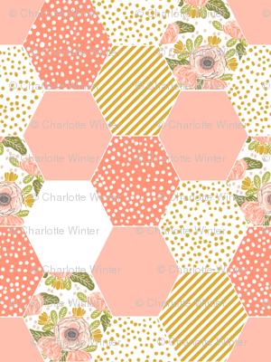 hexagon cheater quilt blush mustard yellow flowers florals cute flowers