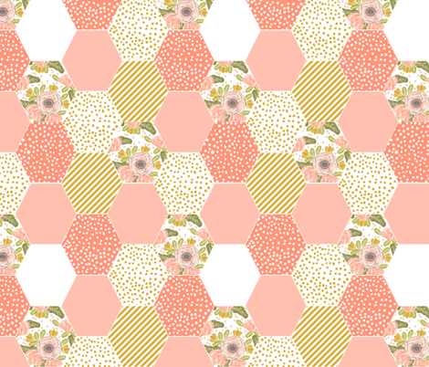 hexagon cheater quilt blush mustard yellow flowers florals cute flowers  fabric by charlottewinter on Spoonflower - custom fabric