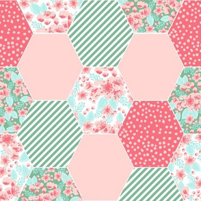 cherry blossoms cheater quilt hexie hexagon quilts kids baby girls mint and pink coral flowers florals blossoms flowers watercolors