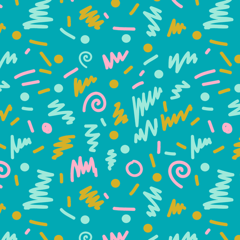 memphis turquoise kids trendy 80s 90s  fabric by charlottewinter on Spoonflower - custom fabric
