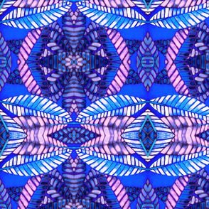 Plumeria leaves blue kaleidoscope