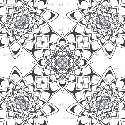 Colour Me Water Lily Bloom Kaleidoscope Pattern