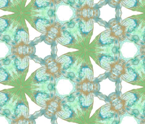Floriography Inkblot Blue Iris Kaleidoscope Pattern fabric by inspired_me_studio on Spoonflower - custom fabric