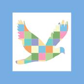 Blue patchwork bird