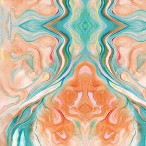 Marbleized Oil in Turquoise Blue and Peach