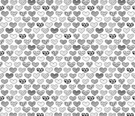 Geometric texture hearts love valentine wedding theme scandinavian style black and white fabric by littlesmilemakers on Spoonflower - custom fabric