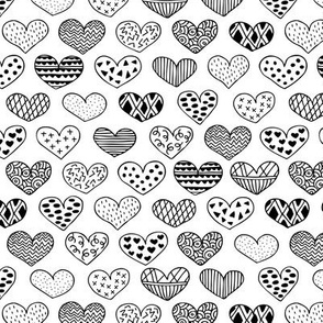 Geometric texture hearts love valentine wedding theme scandinavian style black and white