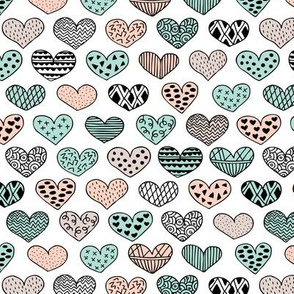 Geometric texture hearts love valentine wedding theme scandinavian style black and white mint coral