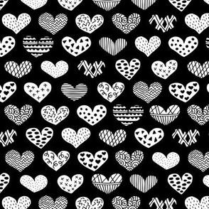 Geometric texture hearts love valentine wedding theme scandinavian style black and white