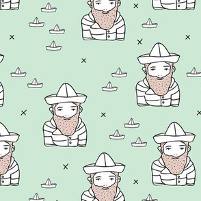 Hi sailor little french captain of the ship with origami boat hat scandinavian style ahoy fabric mint