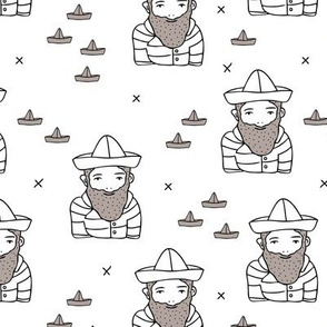 Hi sailor little french captain of the ship with origami boat hat scandinavian style ahoy fabric black and white