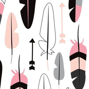 geometric vintage feathers pastel arrows in mint and coral illustration pattern in soft pink XL