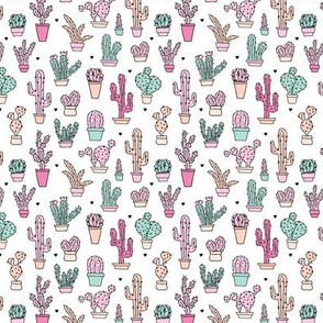 Cactus garden botanical succulent summer pastel pop pattern illustration print XS