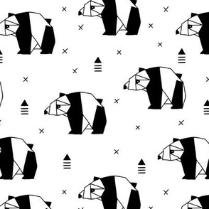 Origami animals cute panda geometric triangle and scandinavian style print black and white