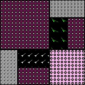 9x9 quilt square Skull pattern 5 design 2 MIRROR