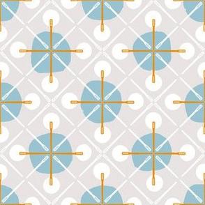 Crosses & Dots (grey, blue + orange)