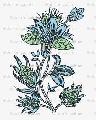 Indian Block print blue green dandelion on oyster white