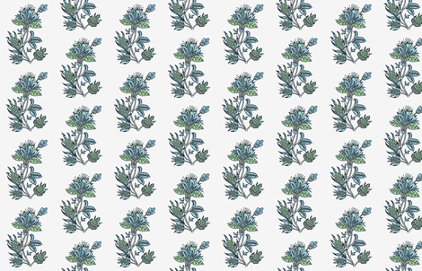 Indian Block print blue green dandelion on oyster white fabric by jenlats on Spoonflower - custom fabric