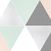 Coral // Mint Sketch Triangle Quilt
